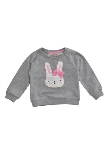 Silversun Kids Tavşan Baskılı Kolları Ve Etek Uçları Lastikli Sweatshirt Js 110900 Gri
